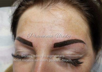 bezpośrednio po zabiegu: makijaż permanentny w salonie kosmetycznym Pracownia Urody Poznań